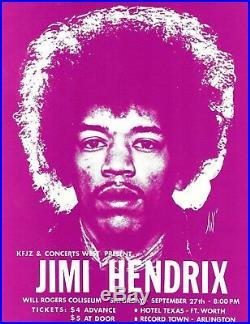 JIMI HENDRIX Original Concert Handbill Flyer 1969 Fort Worth Texas