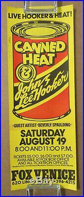 JOHN LEE HOOKER Fox Venice Theatre CANNED HEAT 1972 BLUES Concert POSTER VG+