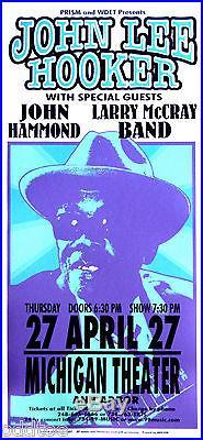 JOHN LEE HOOKER, Orig Concert Poster Signed by Mark Arminski, JOHN HAMMOND