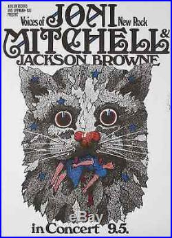 JONI MITCHELL JACKSON BROWNE 1972 German A1 concert poster GUNTHER KIESER signed