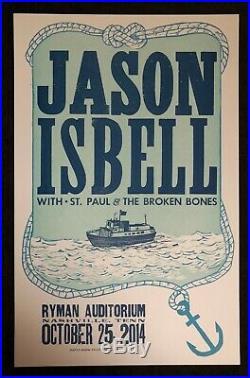 Jason Isbell Hatch Show Print Concert 3 Poster Set @ Ryman Nashville, TN 2014