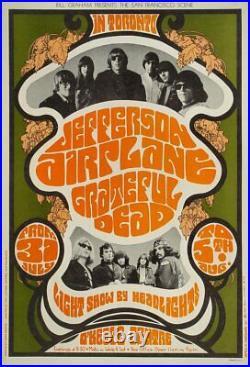 Jefferson Airplane Grateful Dead Bill Graham 1967 Fillmore Concert Poster