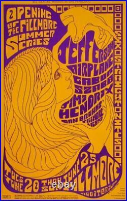 Jefferson Airplane Jimi Hendrix 1967 Fillmore Auditorium Concert Poster