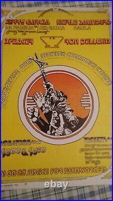 Jerry Garcia Merlre Saunders 1972 benefit concert poster Berkeley, CA