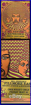 Jimi Hendrix First Print Fillmore East Nyc 1968 Concert Poster Aor 2.90 Original