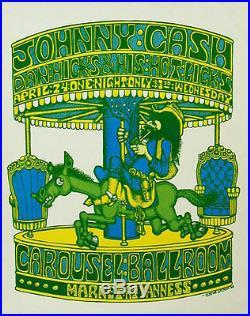 Johnny Cash 1968 Carousel Ballroom Concert Poster