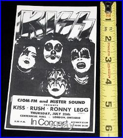 KISS RUSH vintage 1974 1st Tour Canada mini Concert Poster FULL TICKET Aucoin