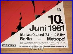 Kraftwerk Concert Poster 1981 Berlin Metropol Mensch-maschine Original Mint