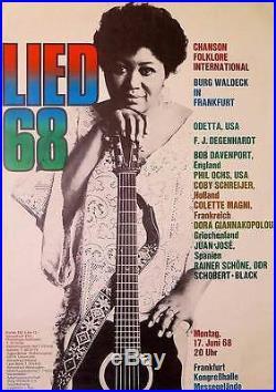 LIED FOLK BLUES FESTIVAL German A1 1968 concert poster ODETTA GUNTHER KIESER