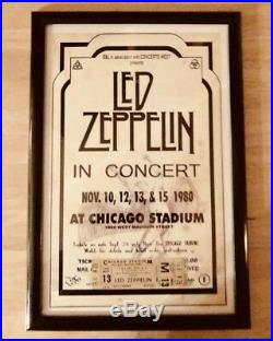Led Zeppelin Mint Concert Ticket Framed With Poster 12x18