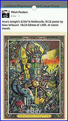 Ltd Edition Phish Drew Millward Concert Poster MINT #350 of 1000
