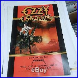 METALLICA opening for OZZY OSBOURNE Rare orig 1986 Concert Poster black sabbath
