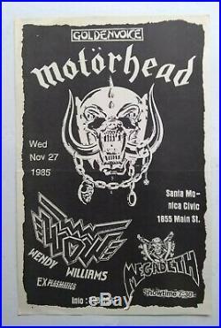 MOTORHEAD/WOWithMEGADETH Original Concert Poster 1985 Los Angeles Plasmatics PunK