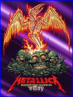 Metallica Concert Poster 7/9/17 Atlanta, GA Purple Foil Variant AP Munk One RARE