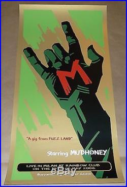 Mudhoney Sub Pop amazing MALLEUS silkscreen concert poster Milan Italy 2006