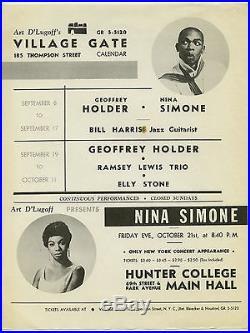 NINA SIMONE Geoffrey Holder RAMSEY LEWIS Original 1960 Concert Handbill