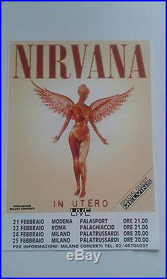 NIRVANA ROMA 1994 LOW NUMBER CONCERT POSTER # 10/1000 +flyer ROCK ART GRUNGE