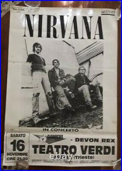 Nirvana Concert Poster 1991 Italy Trieste Nevermind Lp Tour Grunge Rare Original