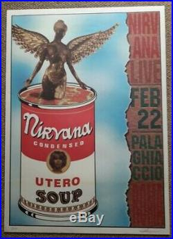 Nirvana Concert Poster 1994 Original Rome Italy #5/1000 Signed Rare Cobain Kbd