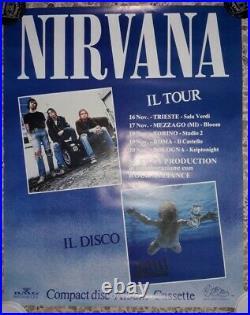 Nirvana Italian Tour 1991 Bmg Nevermind Promo Concert Poster K Cobain Lp Italy