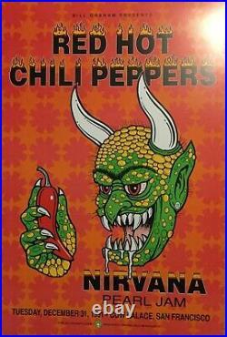 Nirvana Pearl Jam Rhcp 1991 Original Bill Graham 1st Printing Concert Poster Nm