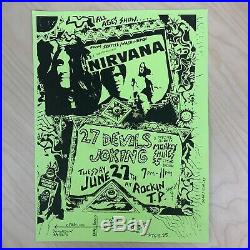 Nirvana RARE 1989 Original Devils Joking Concert Poster Melvins Soundgarden