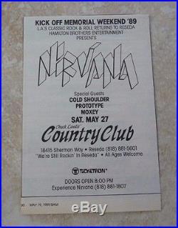 Nirvana RARE Original May 27 1989 Country Club Reseda Concert Poster Ad 4.5x6.5