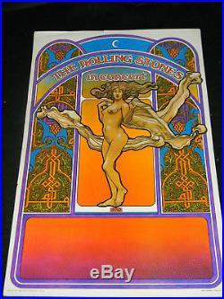 ORIGINAL 1969 The Rolling Stones David Byrd Fillmore Era Tour Concert Poster