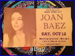 ORIGINAL JOAN BAEZ HOLLYWOOD BOWL CONCERT POSTER OCTOBER 12, 1963 (53 years old)