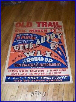 ORIGINAL RARE! GENE AUTRY CONCERT POSTER WLS CHICAGO CA. 1933 22 x 28