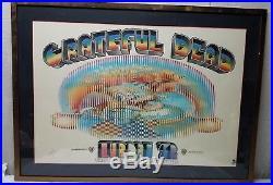 ORIGINAL VINTAGE GRATEFUL DEAD POSTER Europe 1972 Signed Kelley 41 1/2 Concert