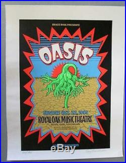 Oasis Michigan 1995 Concert Poster Silkscreen Grimshaw Original