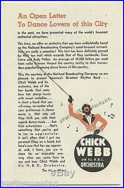 Original 1937 ELLA FITZGERALD / CHICK WEBB Concert Handbill / Flyer WOW