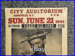 Original 1944 Minnie Pearl Ashville NC Hatch Concert Poster Grand Ole Opry Star
