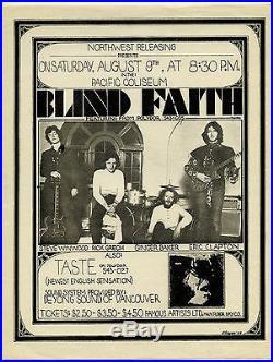 Original 1969 BLIND FAITH Taste Concert Handbill Eric Clapton Steve Winwood +