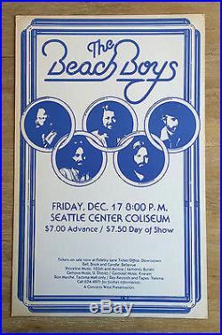 Original (1976) THE BEACH BOYS Seattle Coliseum RARE Cardboard Concert POSTER