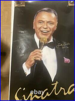 Original 1992 Frank Sinatra Concert Poster 17x31 Sands Atlantic City. Signed