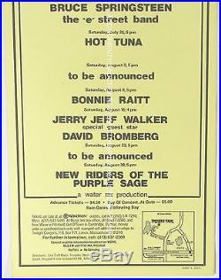 Original BRUCE SPRINGSTEEN, HOT TUNA ++ LENOX, MA concert poster 1975 EX cond