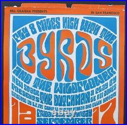 Original Bill Graham 1966 Filmore Concert Poster The Byrds And The Wildflower