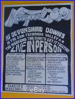Original Concert Poster/jimi Hendrix-jethro Tull-marvin Gaye/devonshire Downs-69