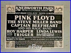 Original Large 1975 Pink Floyd Knebworth Park Concert Poster Buy It Now For $450