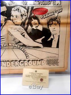 Original Poster SZ Velvet Underground Chambers Bros Dr John Concert Ad COA 1968