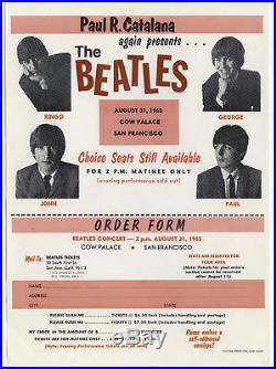 Original THE BEATLES 1965 Concert Handbill / Poster / Ticket Order Form