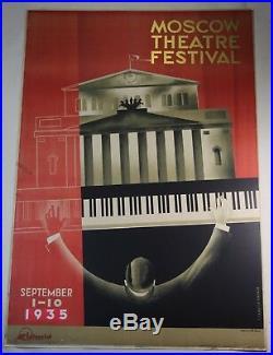 Original Vintage Art Deco 1935 Moscow Theatre Festival Lithograph Poster Zhukov