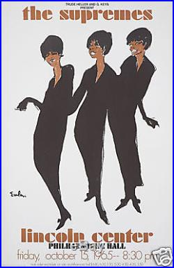 Original Vintage Concert Poster The Supremes Joe Eula Motown Soul Girl Group 60s