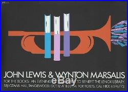 Original Vintage Poster John Lewis Wynton Marsalis Jazz Library Concert 1996 Art