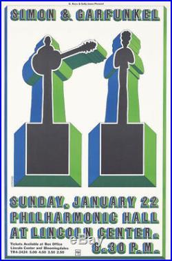 Original Vintage Poster Milton Glaser Simon & Garfunkel Music Concert Rock Folk