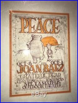 Original Vtg GRATEFUL DEAD JOAN BAEZ 1966 Concert Poster PEACE Pooh Mt Tamaipais