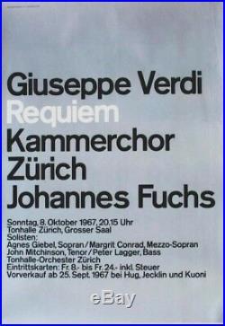 Original vintage poster CONCERT G. VERDI REQUIEM ZURICH 1967