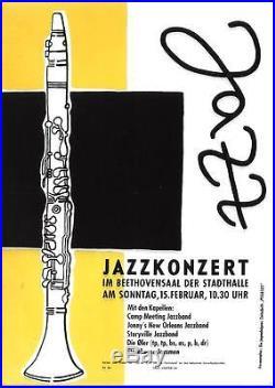 Original vintage poster GERMAN JAZZ CONCERT STUTTGART c. 1956
